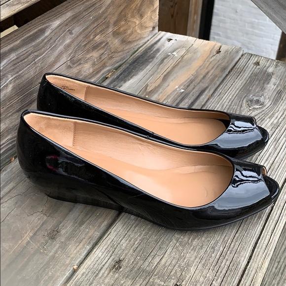 Talbots Shoes - Talbots size 6 1/2 black patent peep toe shoes